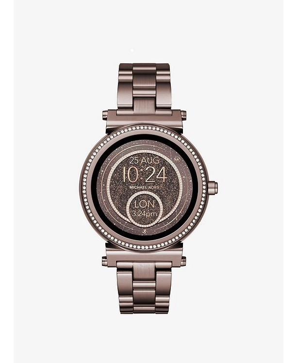 Smartwatch Reloj Michael Kors Sofie Con Cristales Café 6yvb7Yfg