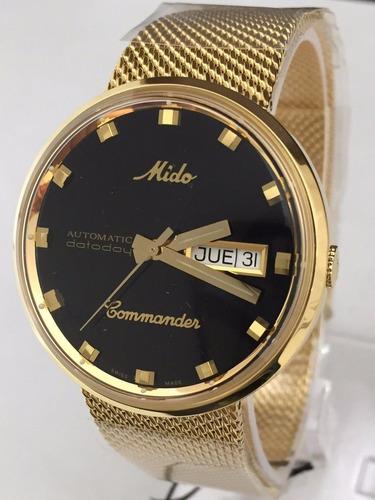 reloj mido commander automático m842932813 dorado caballero*