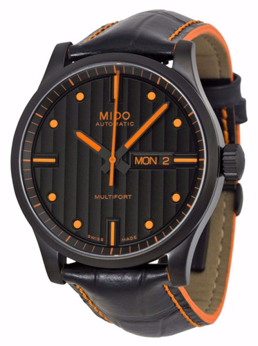 reloj mido multifort automático piel negra m0054303605122