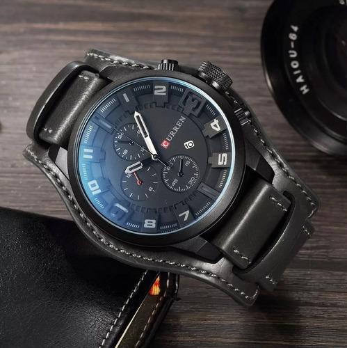 reloj militar moderno hombre analogo curren piel, 5 colores