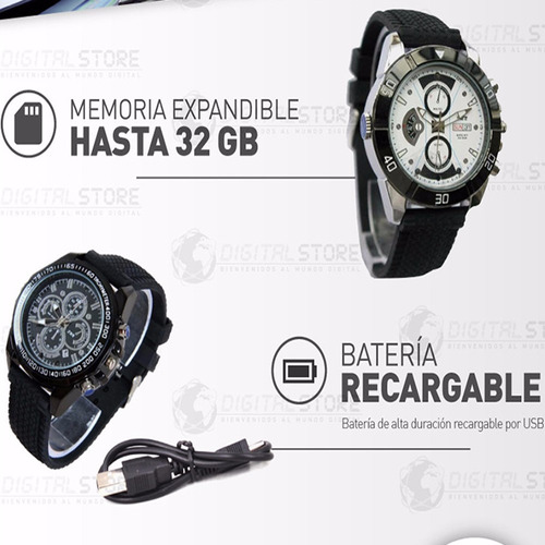 reloj mini camara espia oculta seguridad dvr hd ir black