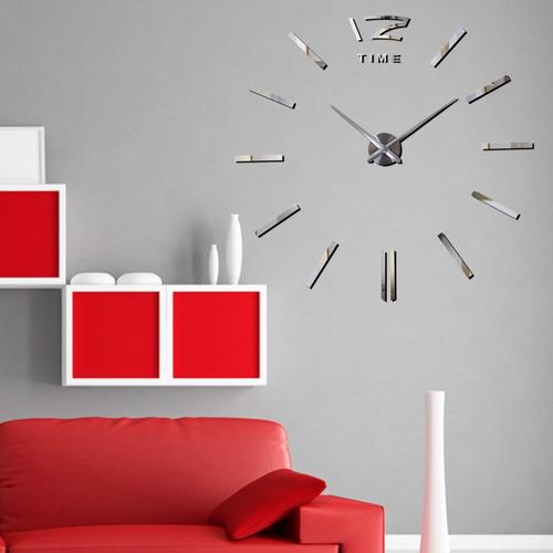 reloj minimalista de pared 3d gigante diy plateado h9028