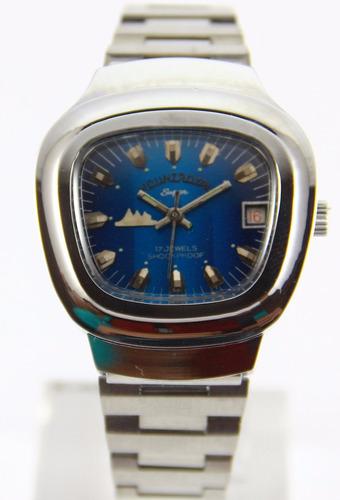 reloj mount royal vintage ´70 nuevos cuerda acero azul gtia