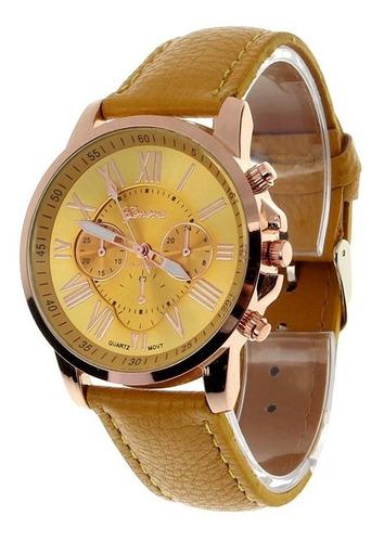 reloj mujer analogo numeros romanos - color amarillo
