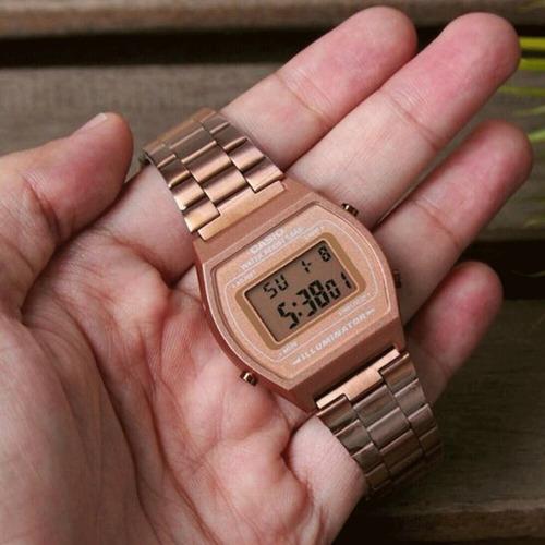 reloj mujer casio b640wc rose gold retro / lhua store