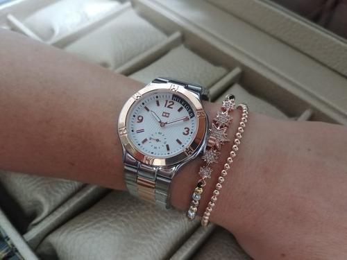 reloj mujer clasico elegante pulso en acero + caja regalo nu