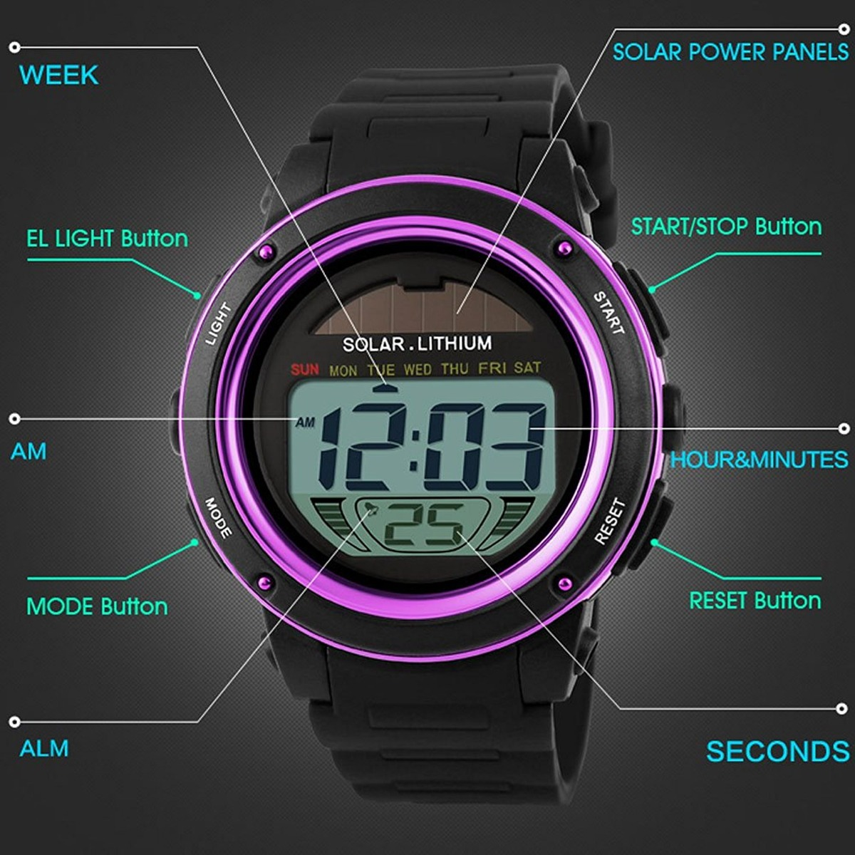 mastop reloj energía solar para mujer deportivos para niñas. Cargando zoom...  reloj mujer deportivos. Cargando zoom. 059b9e82f677