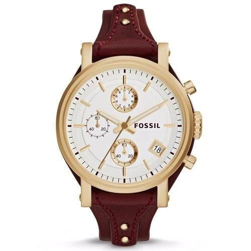 reloj mujer fossil es3841 cronografo calendario borravino