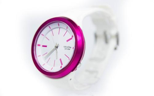 reloj mujer fucsia blanco okusai mdd0021 sumergible 100 mts deporte fitness baile garantia 1 año fucsia blanco