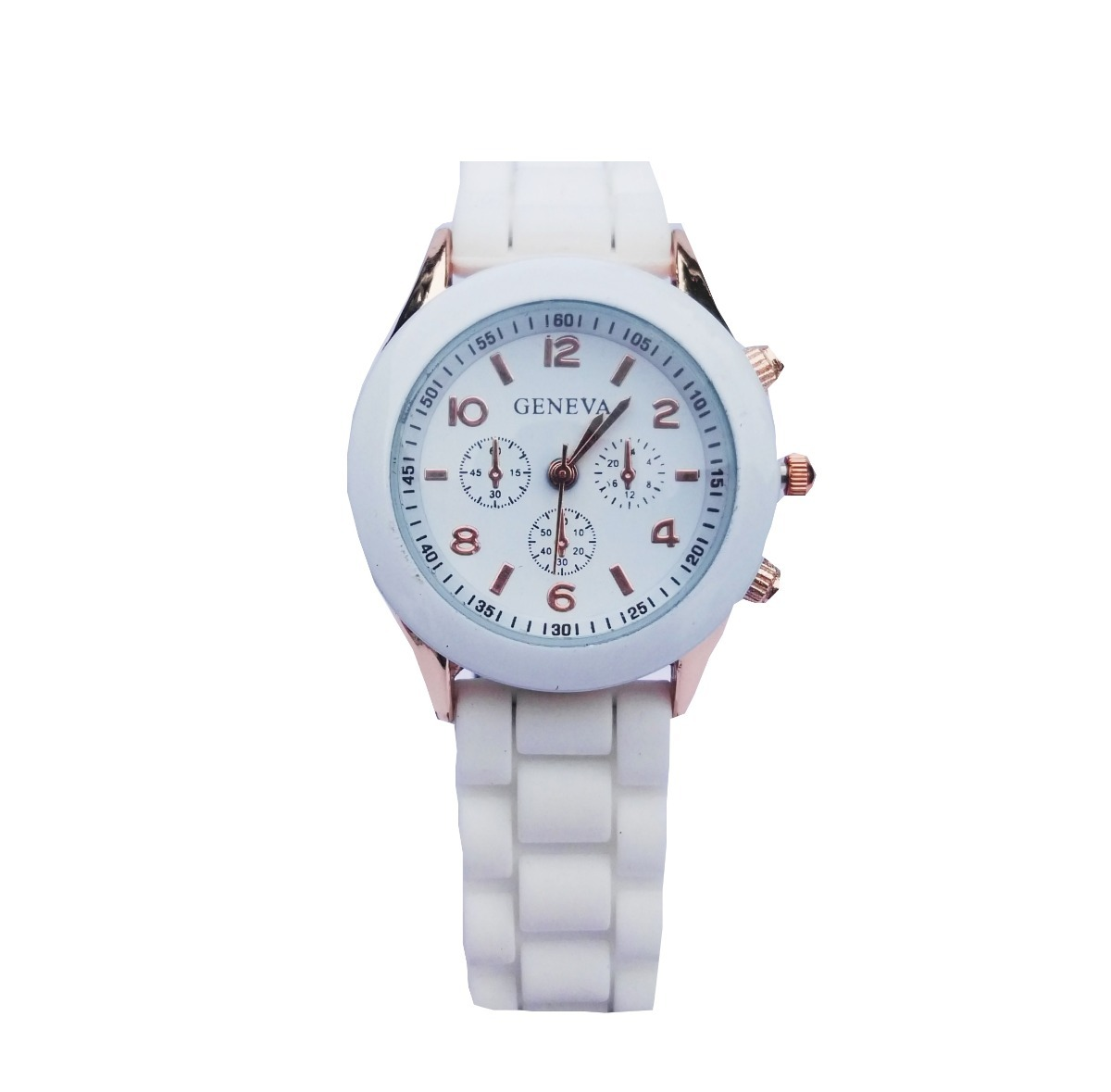 d51d24d89220 reloj mujer malla silicona detalles en dorado color blanco. Cargando zoom.