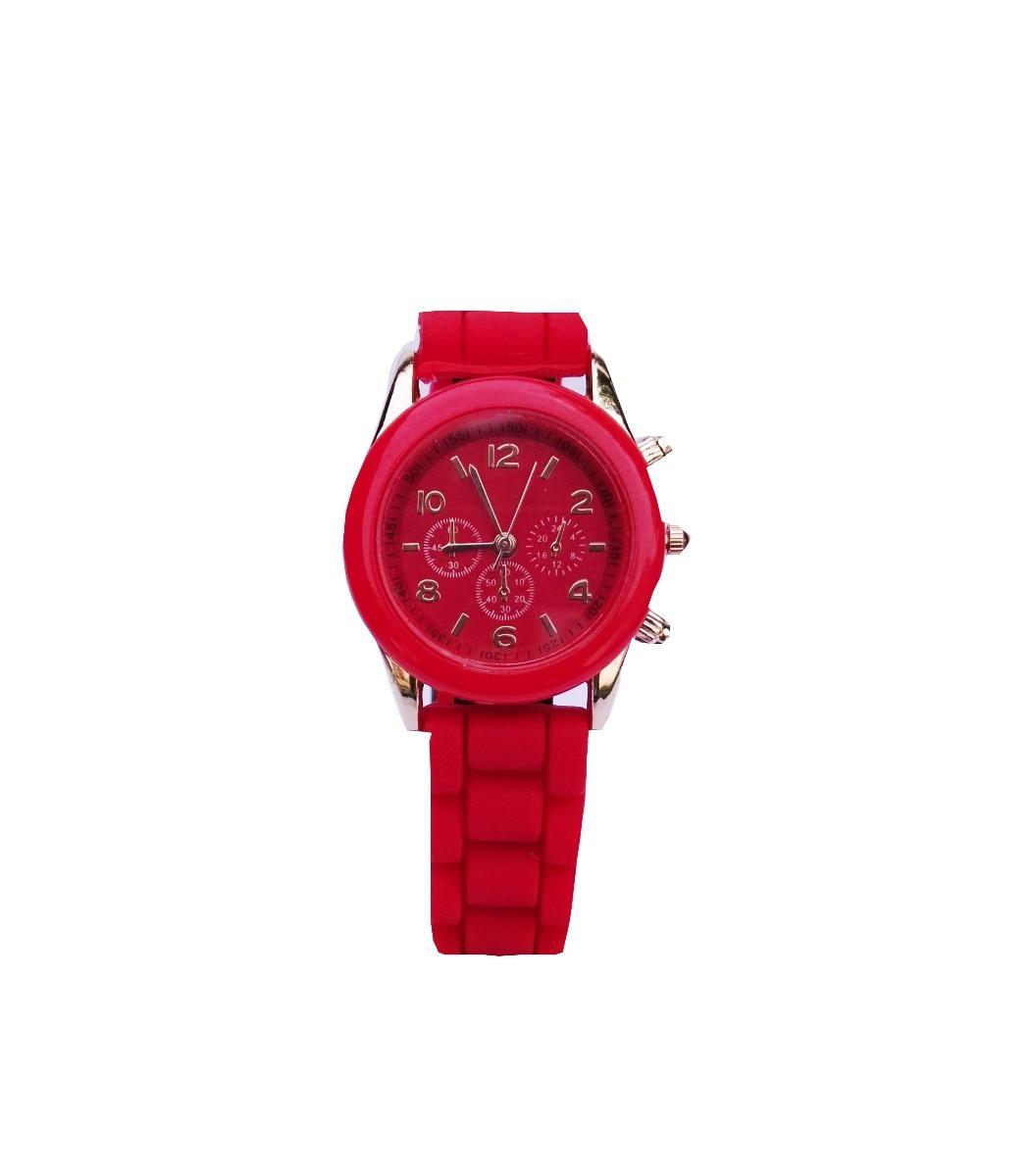 88f3f3a35feb reloj mujer malla silicona detalles en dorado color rojo. Cargando zoom.