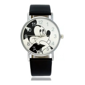Reloj Mujer Mickey Mouse Negro Rosado Cuero