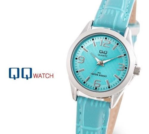 reloj mujer q&q 100% original cuero turquesa para regalo