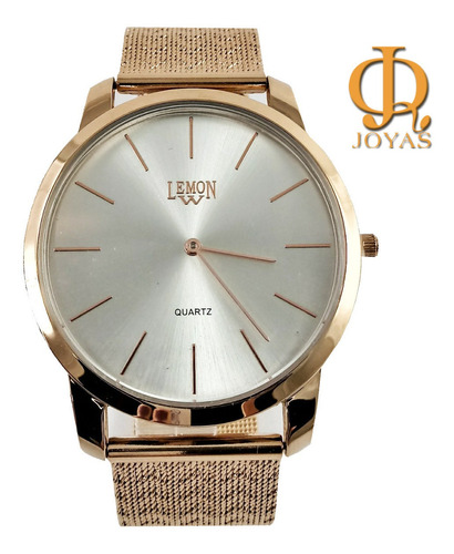 reloj mujer rose plateado malla tejida lemon l1536 l1537
