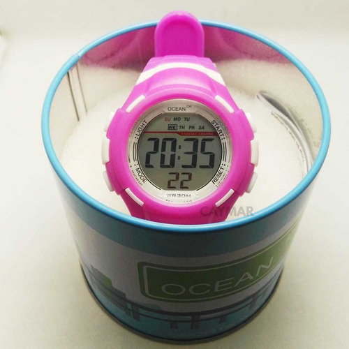 reloj mujer sumergible 5m deportivo cronometro luz fucsia