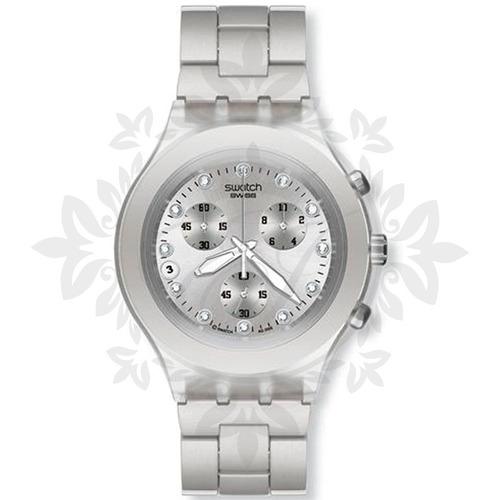 reloj mujer swatch full blooded plateado con piedras origina