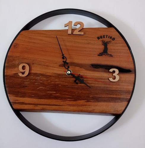 reloj mural rustico madera-metal (comuna la florida)