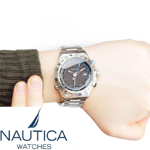 reloj nautica a25018g hombre 100m fechador acero + envió