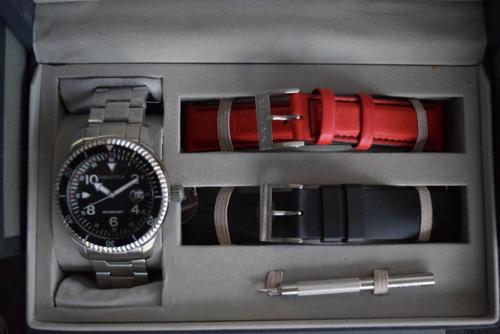 reloj nautica box set 2 ext excelente regalo! tiempo exacto