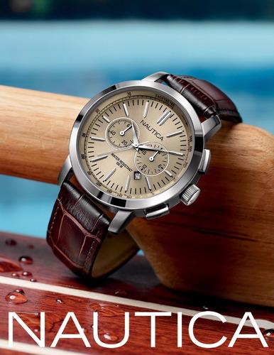 reloj nautica cuero nuevo