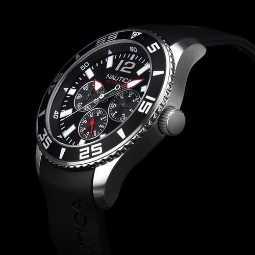 reloj nautica hombre caucho negro tienda oficial a12022g