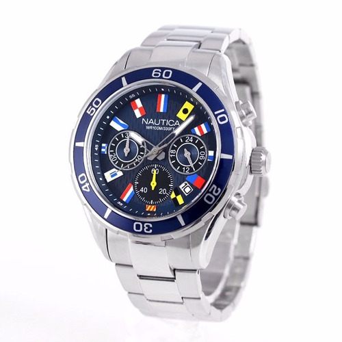 reloj náutica nad19549 plateado wr100m original envío gratis