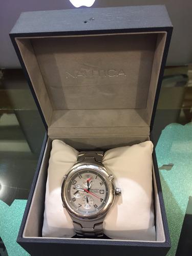 reloj náutica original todo en acero para muñeca delgada