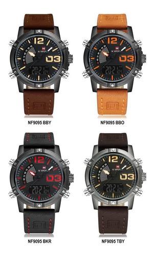 reloj naviforce nf9095 multifunción calidad estilo cuero