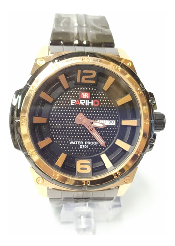 reloj negro bariho correa acero detalles cobre sumergib