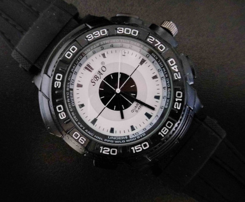 reloj negro marca sbao excelente estilo