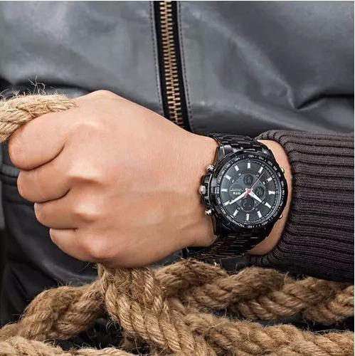 reloj negro ots acero inoxidable