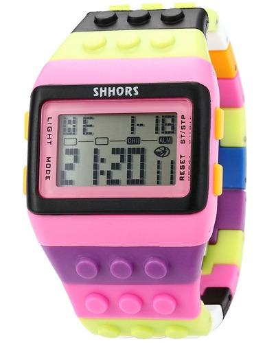 reloj niños y jovenes tipo lego block marca shhors
