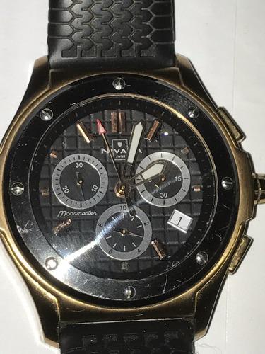 reloj nivada xl moonmaster chronograph acero rojo 100% orig
