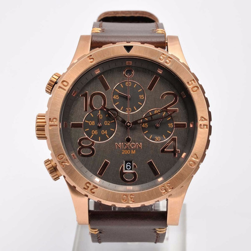 reloj nixon a3632001 cronografo leather rose 48-20 200m wr