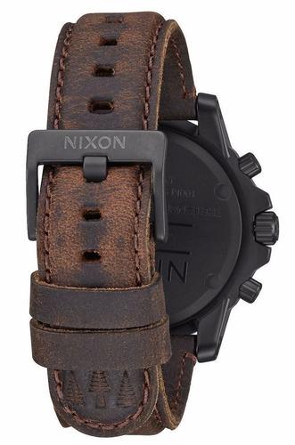 reloj nixon ranger acero piel café hombre a9402209