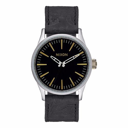 reloj nixon sentry acero piel negro hombre a3772222