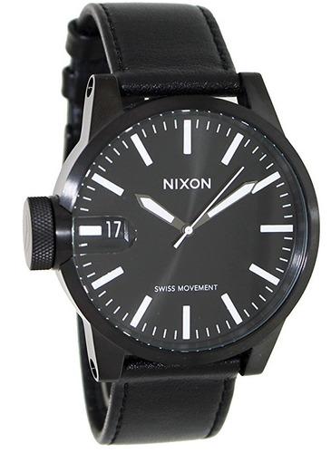 reloj nixon the chronocicle acero piel negro hombre a127001