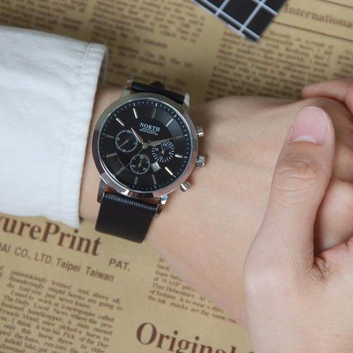 reloj north hombre elegante casual piel acero inoxidable