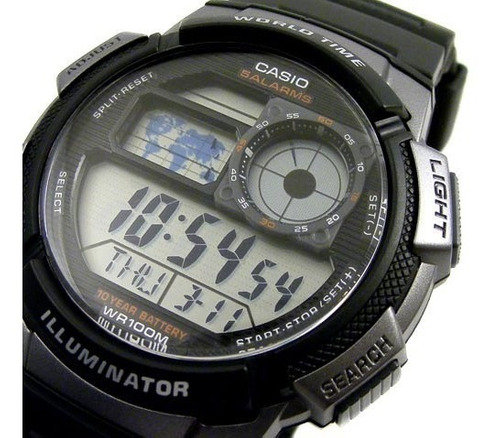 reloj original casio® world time 100 mts nuevo garantía