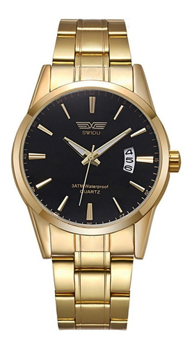reloj original swidu black and silver elegante para hombre