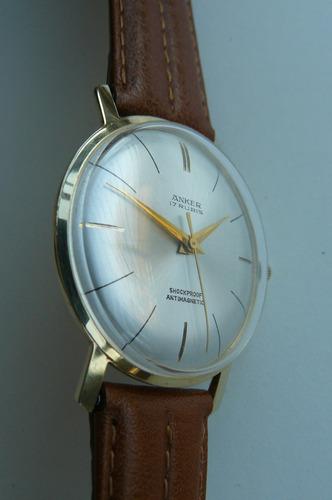 reloj oro solido 14k aleman anker 17 rubi año 60 a cuerda