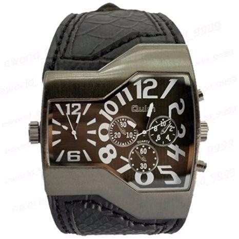 reloj oulm luxury dos tiempos color negro
