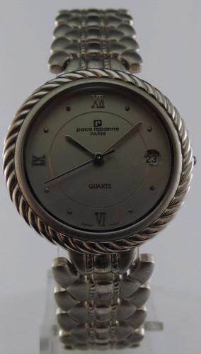 reloj paco rabanne quartz plateado calendario nuevo garantía