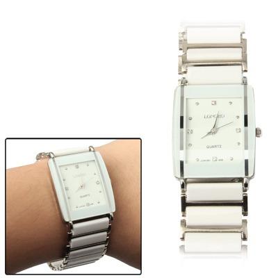 reloj par joya cuarzo dial joyeria correa ceramica blanco