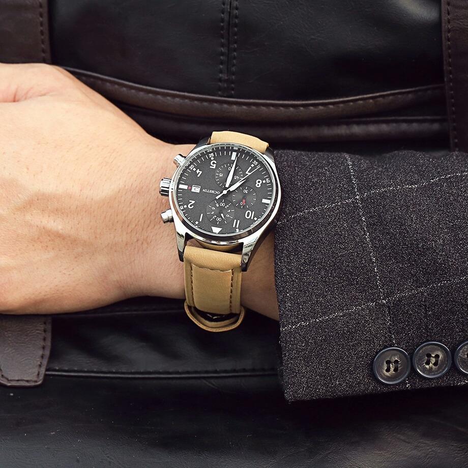 84141b36f537 reloj para caballero hombre estilo piloto correa piel cafe. Cargando zoom.