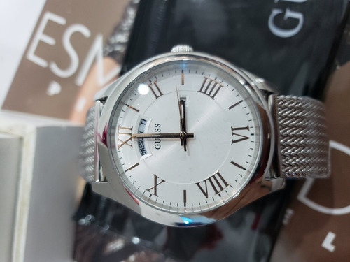 reloj para caballero marca guess plateado original w0923g1