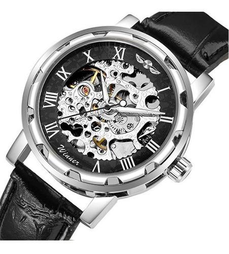 reloj para caballero winner esqueleto automático negro