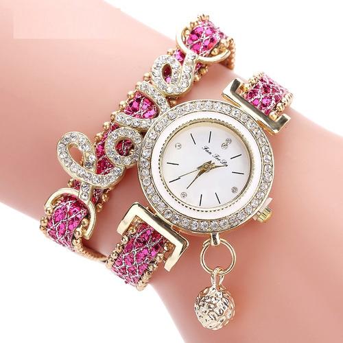 reloj para dama correa de cuero con la palabra amor
