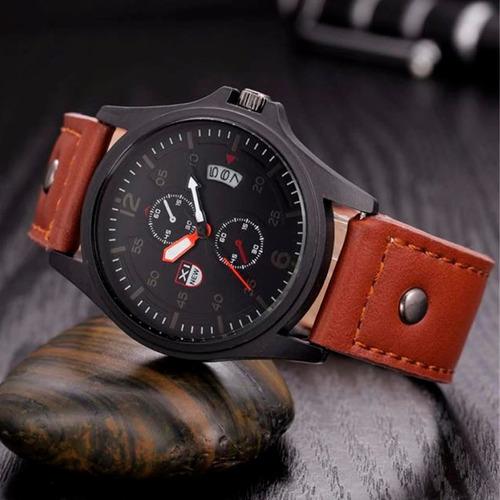 reloj para hombre cafe calendario  + caja de regalo