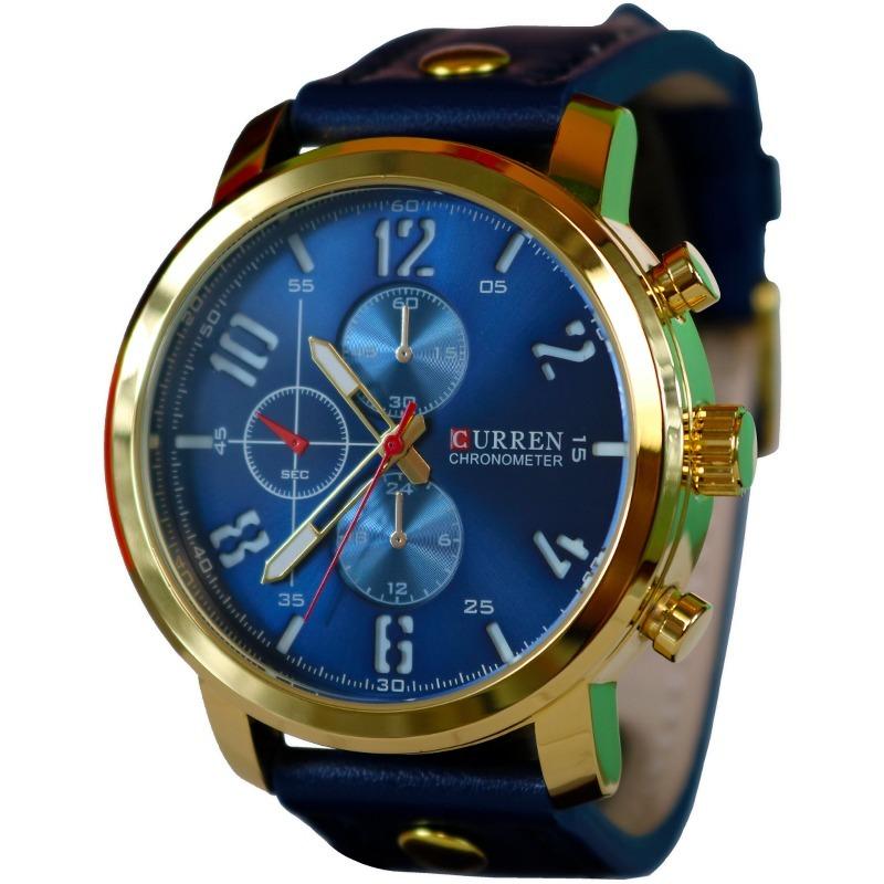 reloj para hombre de marca curren color oro y azul casual. Cargando zoom. 6881cd652ecc